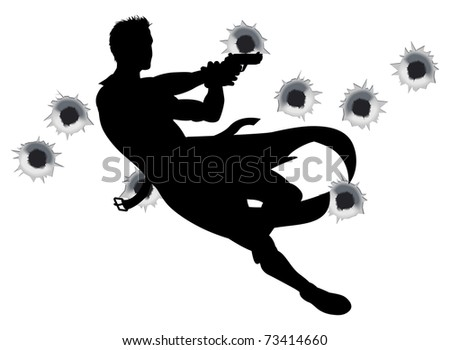 Action hero leaping through the air and shooting in film style gun fight action sequence. With bullet holes.