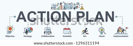 Action plan banner web icon for business and marketing. objective, strategy, Collaboration, Schedule, Plan and implementation. Minimal vector infographic.