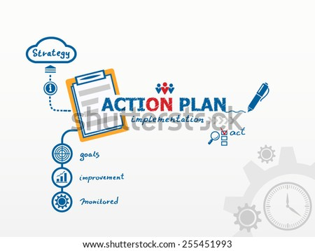 Action Plan concept and notebook. Hand writing Action plan with blue marker