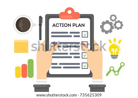 Action plan concept illustration. Businesswoman with notebook, coffee and glasses. Time management.