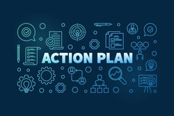 Action Plan horizontal blue outline banner or illustration on dark background
