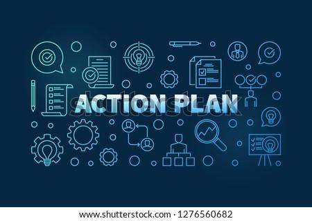 Action Plan horizontal blue outline banner or illustration on dark background