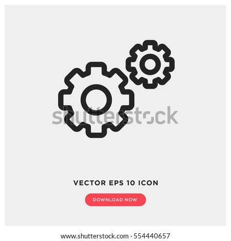 Action vector icon, setting cog symbol. Modern, simple flat vector illustration for web site or mobile app
