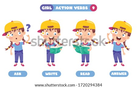 Action Verbs For Children Education Stockfoto ©