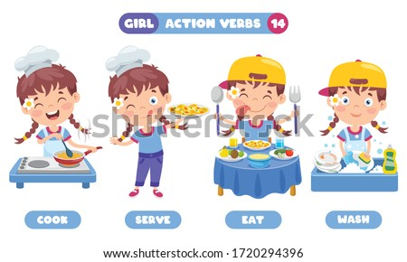 Action Verbs For Children Education Stock photo ©