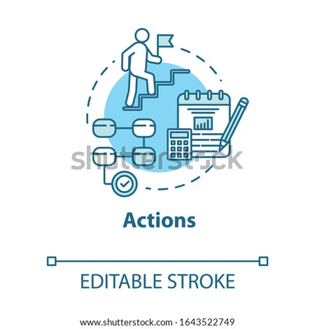 Actions concept icon. Opportunities for succes. Opportunities for success. Business management idea thin line illustration. Vector isolated outline RGB color drawing. Editable stroke