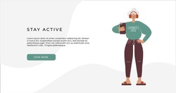 Active ageing concept. Getting old flat vector illustration. Senior female using smartphone. Old people and technology concept. Active, sporty, fit grandmother. Website banner for inclusive community.