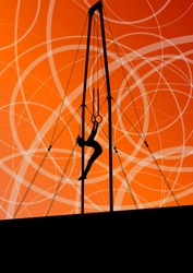 Active and strong children in gymnastics rings sport silhouette vector abstract background illustration