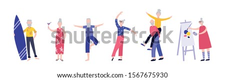 Active cartoon old people having fun - isolated set of senior men and women dancing, doing sport, drawing and doing other leisure activities. Flat vector illustration