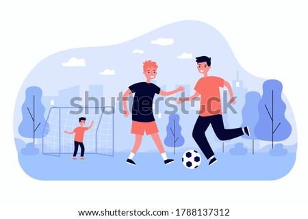Active children playing soccer outdoors isolated flat vector illustration. Cartoon happy kids kicking ball and running at playground. Sport game and childhood concept