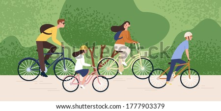 Active family riding on bike at forest park vector flat illustration. Mother, father, daughter and son cycling together. Parents and kids enjoying healthy lifestyle. Recreational outdoor activity
