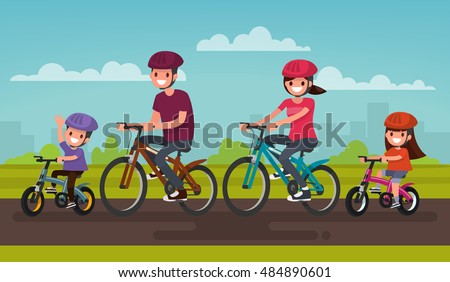 Active family vacation. Father mother, son and daughter are riding on bicycles in the park. Vector illustration of a flat design