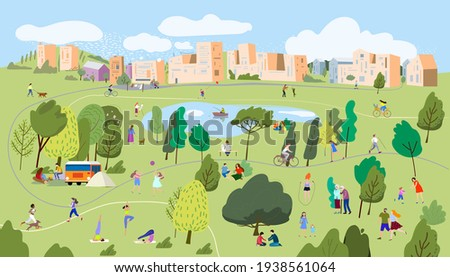 Active family weekend in the forest by the lake with a barbecue, walks. People having a rest on a picnic in nature.People in the park.Vector illustration.