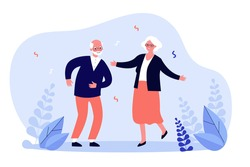 Active funny old couple dancing at party. Grandparents celebrating anniversary. Vector illustration for senior age, retirement, having fun, celebration concept