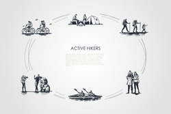 Active hikers - people riding bicycles, having rest with camping in forest, hiking with family, orienting with map, driving kanoe, taking photo vector concept set.