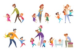 Active kids. Big family tired parents playing with children adult in action poses vector cartoon characters