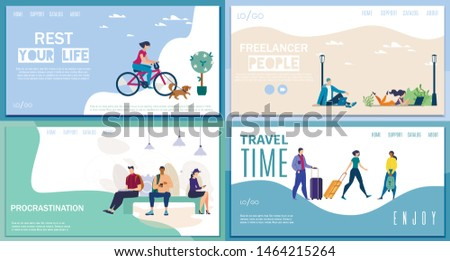 Active Leisure, Freelance Work, Travel Time, Procrastination in Social Networks Flat Vector Web Banners, Landing Pages. with Woman Riding Bike, Working Freelancers, Tourists with Baggage Illustration