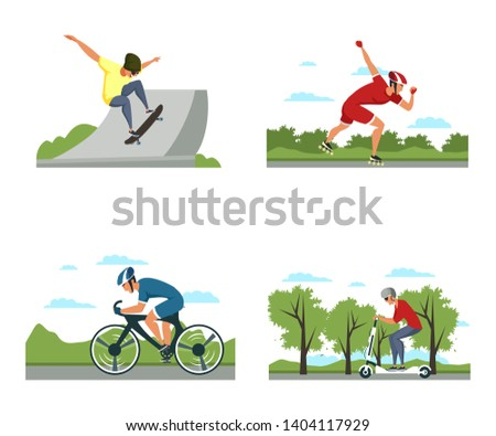 Active lifestyle flat vector illustrations set. Cycle sport, skateboarding, roller skating, push scooter riding. Extreme sports. Outdoors activities for teenagers. Eco transport concept cliparts