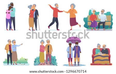 Active lifestyle old grandparents. Elderly people characters. Cartoon seniors family activities isolated vector illustration.