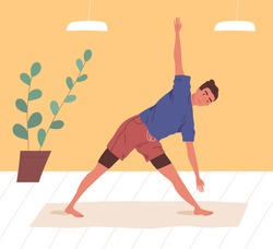 Active man doing yoga exercise at home or gym vector flat illustration. Flexible male practicing stretching or aerobics on mat. Guy in sportswear enjoying sports training or workout