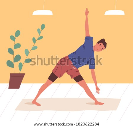 Active man doing yoga exercise at home or gym vector flat illustration. Flexible male practicing stretching or aerobics on mat. Guy in sportswear enjoying sports training or workout Photo stock ©