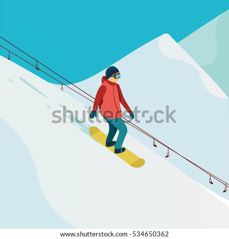 active man snowboarder riding