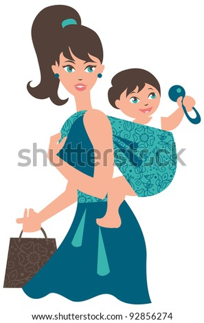 Active mother with baby in a sling