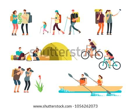 active people hikers. cartoon...