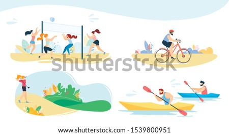 Active Recreation, Sport Activities and Outdoor Games Flat Set. Cartoon Friends Playing Volleyball and Golf, Man Cycling, People Rowing on Kayak and Canoe. Vacation Summer Time. Vector Illustration