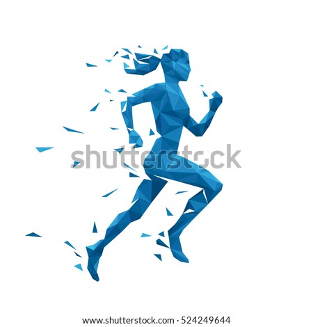 active running woman vector