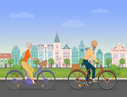 Active senior character, age travelers. Old age retired tourists couple. Elderly people riding on a bicycle near old city park. Cartoon vector illustration.
