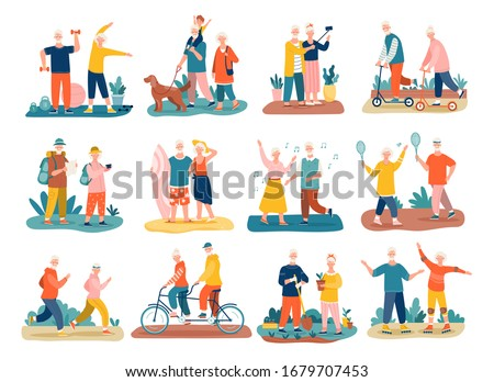 Active seniors concept with colorful icons of elderly people and couples exercising, jogging, hiking, cycling, walking the dog, dancing and playing tennis, vector illustrations