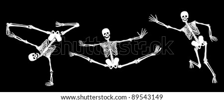 Active skeletons on black. Set #3. Vector - stock vector