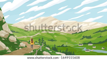 Active tourist woman walking on path admiring mountain landscape vector graphic illustration. Travel cartoon female contemplating natural scenery. Concept of journey and new discoveries