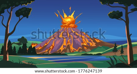 Active volcano illustration. Volcano activity with magma, smoke and eruption, lava. Nature disaster. Volcanic eruption on a island, vector landscape cover. For books, banner, poster in flat style.