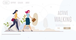 Active Walking, Women Healthy Lifestyle Flat Vector Web Banner, Landing Page Template. Businesswoman, Female Employee in Strict Clothes Walking in Park or Sidewalk, Hurrying in Business Illustration