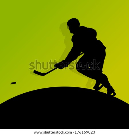 Active young man ice hockey sport silhouette skating in winter sports abstract background illustration vector