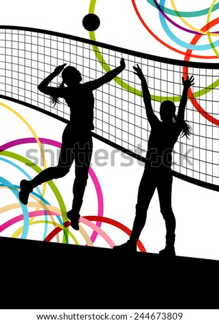 active young women volleyball