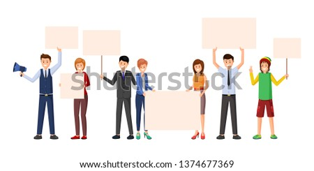 Activism, meeting, protest action flat illustrations. Public opinion, marketing campaign, advertising posters for text isolated cliparts. Activists, protestors, social movement participants characters