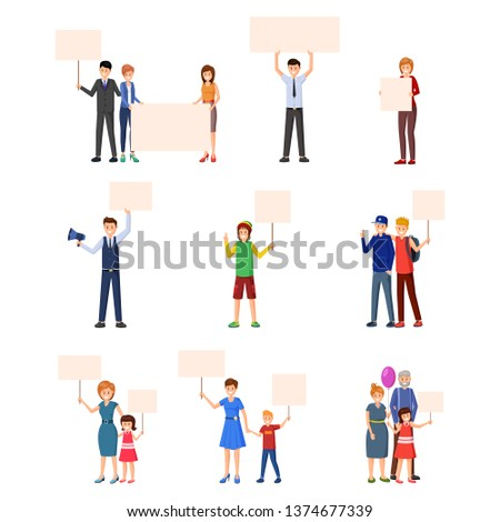 Activism, rights protection flat illustrations set. Young people, adults, kids, teenagers participating in social movement, protest events and actions. Protestors with empty placards characters
