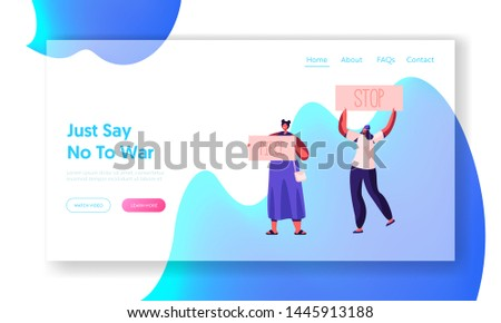 Activist Characters with Banners for Piece, Riot, Picket. Protesting People with Placards and Signs on Strike or Demonstration Website Landing Page, Web Page. Cartoon Flat Vector Illustration, Banner