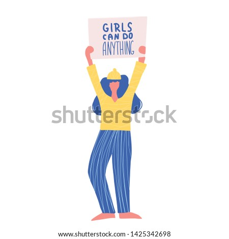 Activist. Protesting person standing  with placard Girl can do anything. Young woman holding blanks of banners and placards. Lady take part of rally, parade. Vector illustration.