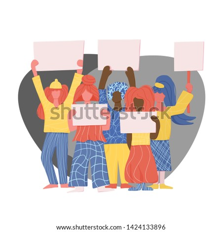 Activists. Protesting people standing together with sign boards. Young women holding blanks of banners and placards. Ladies take part of rally, parade. Vector illustration.