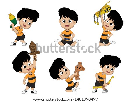 Activities for children, such as children playing water gun, play video games ,play a robot ,play a toy,play a swords, play an archery.Vector and illustrator.