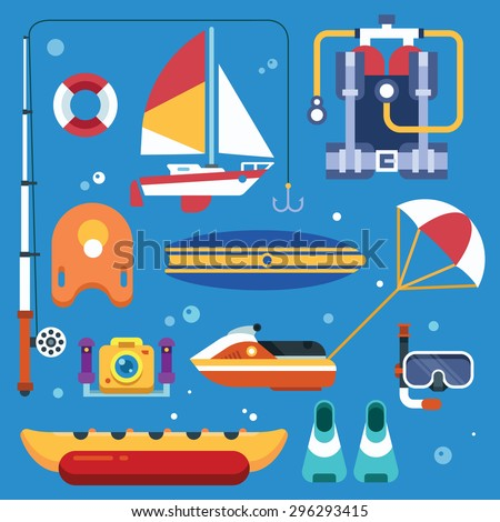Activities on the sea for the summer holidays. Water sports and fun. Vector flat illustration