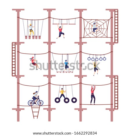 Activity children in extreme adventure rope park with climbing equipment in childhood cartoon climb vector illustration. Child overcoming obstacles took down. Action with team building. ストックフォト ©