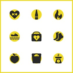 Activity icons set with heart case, fire and apple elements. Set of activity icons and locked concept. Editable vector elements for logo app UI design.