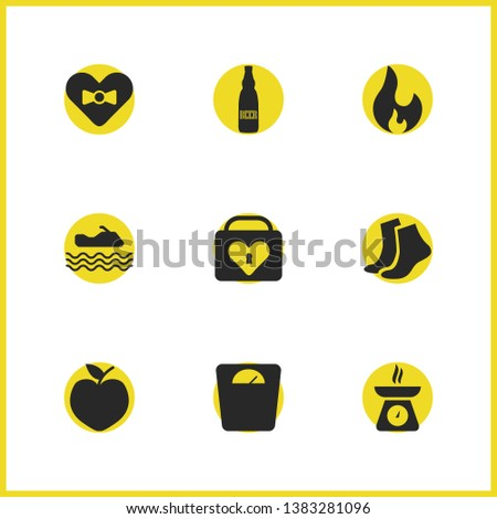 activity icons set with heart