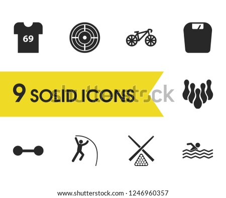 Activity icons set with swimmer, bike and snooker elements. Set of activity icons and vaulter concept. Editable vector elements for logo app UI design.