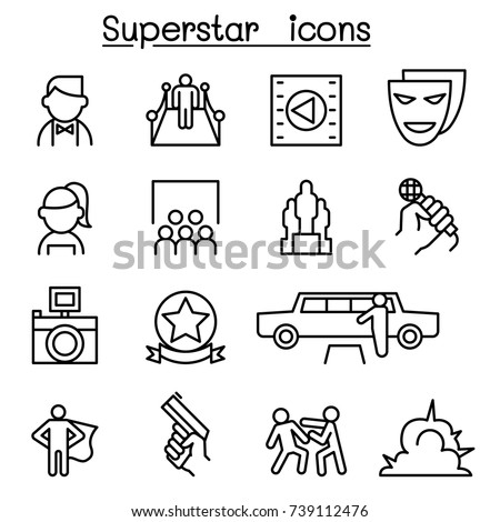 Actor, Actress, Celebrity, Super star icon set in thin line style